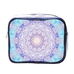 India Mehndi Style Mandala   Cyan Lilac Mini Toiletries Bags
