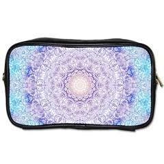 India Mehndi Style Mandala   Cyan Lilac Toiletries Bags 2-Side