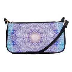 India Mehndi Style Mandala   Cyan Lilac Shoulder Clutch Bags