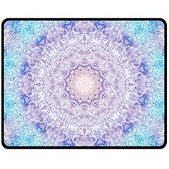 India Mehndi Style Mandala   Cyan Lilac Fleece Blanket (Medium)
