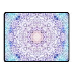 India Mehndi Style Mandala   Cyan Lilac Fleece Blanket (Small)