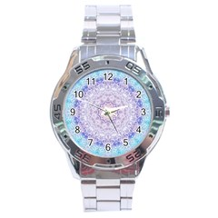 India Mehndi Style Mandala   Cyan Lilac Stainless Steel Analogue Watch