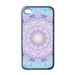 India Mehndi Style Mandala   Cyan Lilac Apple iPhone 4 Case (Black)