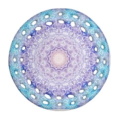 India Mehndi Style Mandala   Cyan Lilac Ornament (Round Filigree)