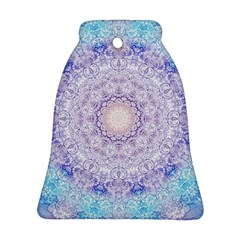 India Mehndi Style Mandala   Cyan Lilac Bell Ornament (Two Sides)