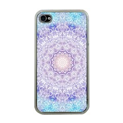 India Mehndi Style Mandala   Cyan Lilac Apple iPhone 4 Case (Clear)