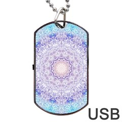 India Mehndi Style Mandala   Cyan Lilac Dog Tag USB Flash (One Side)