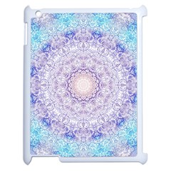 India Mehndi Style Mandala   Cyan Lilac Apple iPad 2 Case (White)