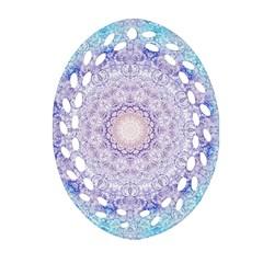 India Mehndi Style Mandala   Cyan Lilac Ornament (Oval Filigree)