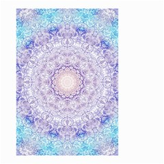 India Mehndi Style Mandala   Cyan Lilac Small Garden Flag (Two Sides)