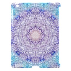 India Mehndi Style Mandala   Cyan Lilac Apple iPad 3/4 Hardshell Case (Compatible with Smart Cover)