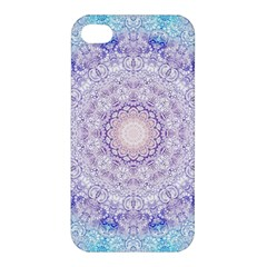 India Mehndi Style Mandala   Cyan Lilac Apple iPhone 4/4S Premium Hardshell Case