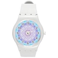 India Mehndi Style Mandala   Cyan Lilac Round Plastic Sport Watch (M)