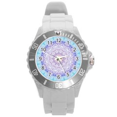 India Mehndi Style Mandala   Cyan Lilac Round Plastic Sport Watch (L)
