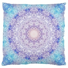 India Mehndi Style Mandala   Cyan Lilac Large Cushion Case (Two Sides)