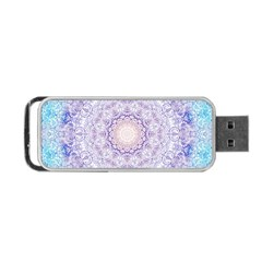 India Mehndi Style Mandala   Cyan Lilac Portable USB Flash (Two Sides)