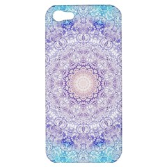 India Mehndi Style Mandala   Cyan Lilac Apple iPhone 5 Hardshell Case