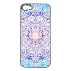 India Mehndi Style Mandala   Cyan Lilac Apple iPhone 5 Case (Silver)