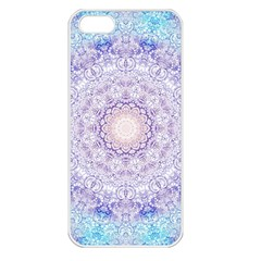 India Mehndi Style Mandala   Cyan Lilac Apple iPhone 5 Seamless Case (White)
