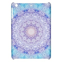 India Mehndi Style Mandala   Cyan Lilac Apple iPad Mini Hardshell Case