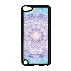 India Mehndi Style Mandala   Cyan Lilac Apple iPod Touch 5 Case (Black)
