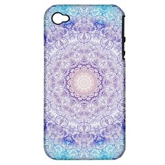 India Mehndi Style Mandala   Cyan Lilac Apple iPhone 4/4S Hardshell Case (PC+Silicone)