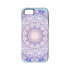 India Mehndi Style Mandala   Cyan Lilac Apple iPhone 5 Classic Hardshell Case (PC+Silicone)