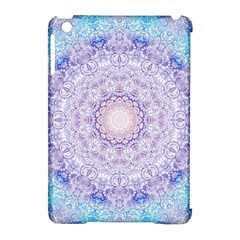 India Mehndi Style Mandala   Cyan Lilac Apple iPad Mini Hardshell Case (Compatible with Smart Cover)