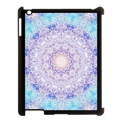 India Mehndi Style Mandala   Cyan Lilac Apple iPad 3/4 Case (Black)