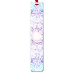 India Mehndi Style Mandala   Cyan Lilac Large Book Marks