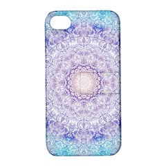 India Mehndi Style Mandala   Cyan Lilac Apple iPhone 4/4S Hardshell Case with Stand