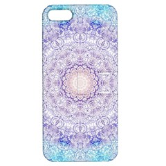 India Mehndi Style Mandala   Cyan Lilac Apple iPhone 5 Hardshell Case with Stand