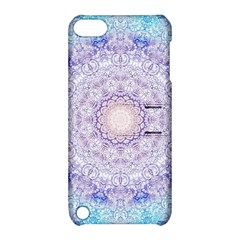 India Mehndi Style Mandala   Cyan Lilac Apple iPod Touch 5 Hardshell Case with Stand