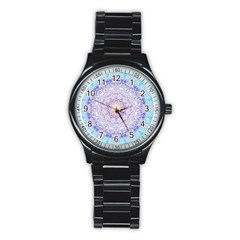 India Mehndi Style Mandala   Cyan Lilac Stainless Steel Round Watch