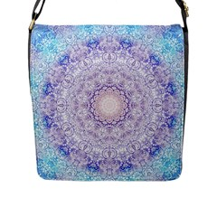 India Mehndi Style Mandala   Cyan Lilac Flap Messenger Bag (L)