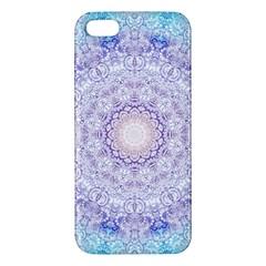 India Mehndi Style Mandala   Cyan Lilac iPhone 5S/ SE Premium Hardshell Case