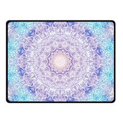 India Mehndi Style Mandala   Cyan Lilac Double Sided Fleece Blanket (Small)