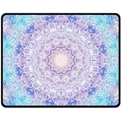 India Mehndi Style Mandala   Cyan Lilac Double Sided Fleece Blanket (Medium)