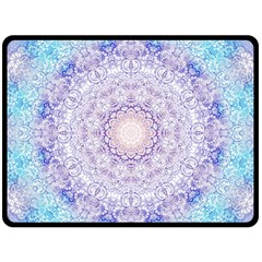 India Mehndi Style Mandala   Cyan Lilac Double Sided Fleece Blanket (Large)
