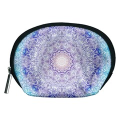 India Mehndi Style Mandala   Cyan Lilac Accessory Pouches (Medium)