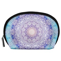 India Mehndi Style Mandala   Cyan Lilac Accessory Pouches (Large)