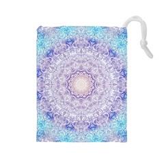 India Mehndi Style Mandala   Cyan Lilac Drawstring Pouches (Large)