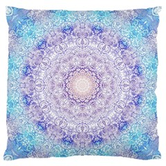 India Mehndi Style Mandala   Cyan Lilac Standard Flano Cushion Case (Two Sides)