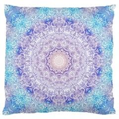 India Mehndi Style Mandala   Cyan Lilac Large Flano Cushion Case (One Side)