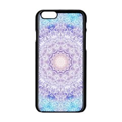 India Mehndi Style Mandala   Cyan Lilac Apple iPhone 6/6S Black Enamel Case