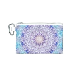 India Mehndi Style Mandala   Cyan Lilac Canvas Cosmetic Bag (S)