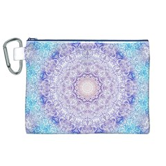 India Mehndi Style Mandala   Cyan Lilac Canvas Cosmetic Bag (XL)