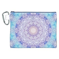 India Mehndi Style Mandala   Cyan Lilac Canvas Cosmetic Bag (XXL)