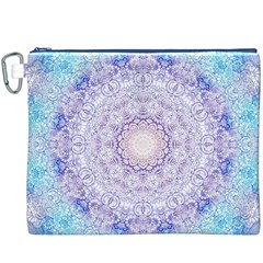 India Mehndi Style Mandala   Cyan Lilac Canvas Cosmetic Bag (XXXL)