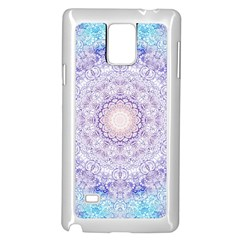 India Mehndi Style Mandala   Cyan Lilac Samsung Galaxy Note 4 Case (White)